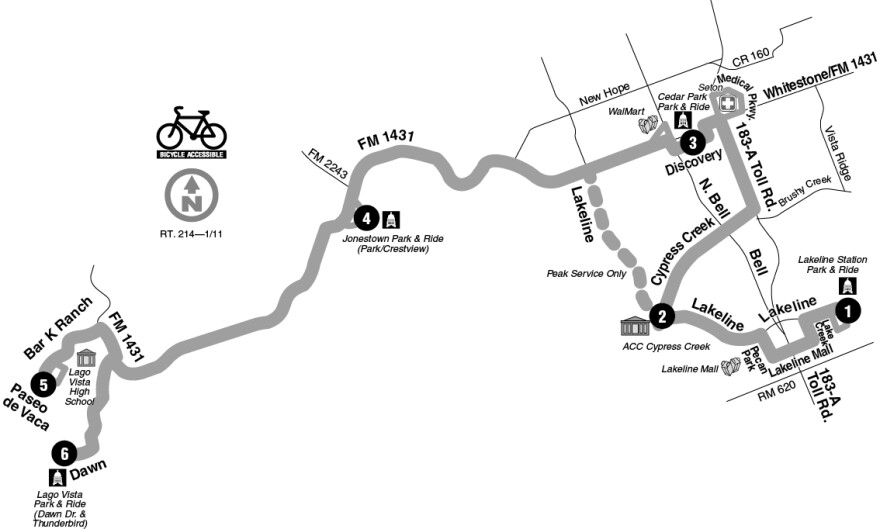CapMetro Cedar Park map