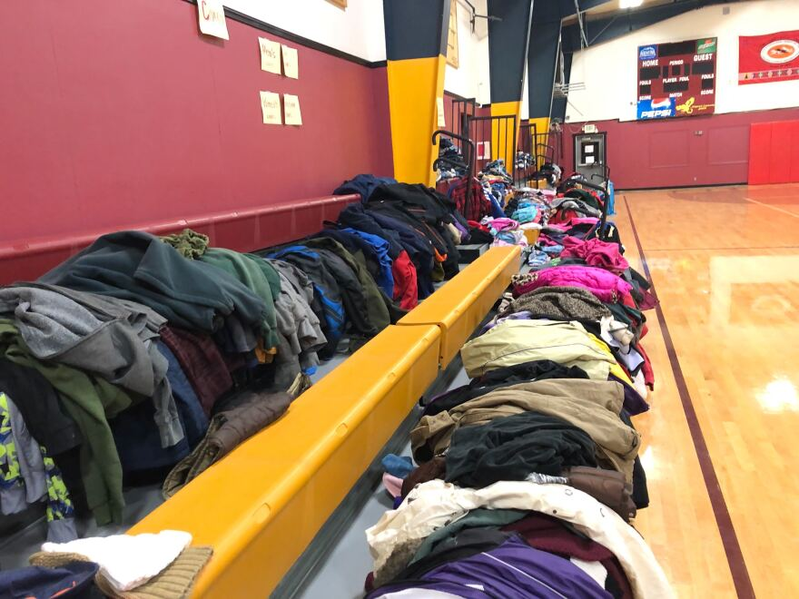 Massive amounts of bedding, clothing, boots, food and water were donated and organized at the Umatilla tribes' emergency coordination center in Mission, Ore.
