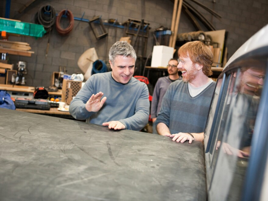 Co-composer Trey Anastasio of the band Phish (right) and director Neil Pepe at a rehearsal for the show.