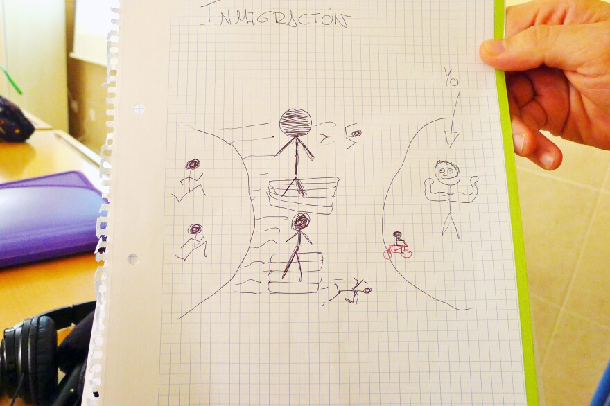 High school kids make drawings of what immigration means to them as part of a Stop Rumors seminar run by Malaga Welcome, an NGO that works with newly arrived migrants and tries to change stereotypes about them. This student's drawing is of migrants from Africa arriving on rafts on Spain's coast.