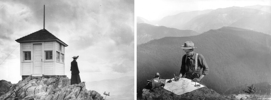 Left: A fire lookout stands next to the Twin Sisters lookout station in Colorado in 1917. Right: Forest Ranger Griffin locates the distance of a forest fire on a map near the Mt. Silcox lookout station in Montana in 1909.