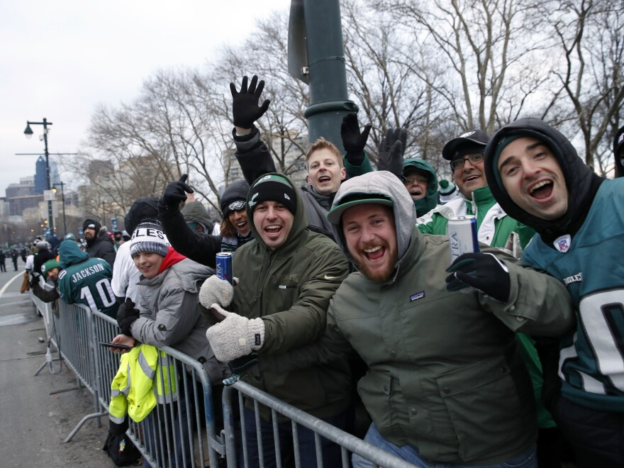 Fans line Benjamin Franklin Parkway before the Super Bowl victory parade for the Philadelphia Eagles on Thursday in Philadelphia.