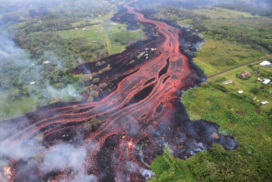 Lava flows from fissures near Pahoa, Hawaii, on Saturday.