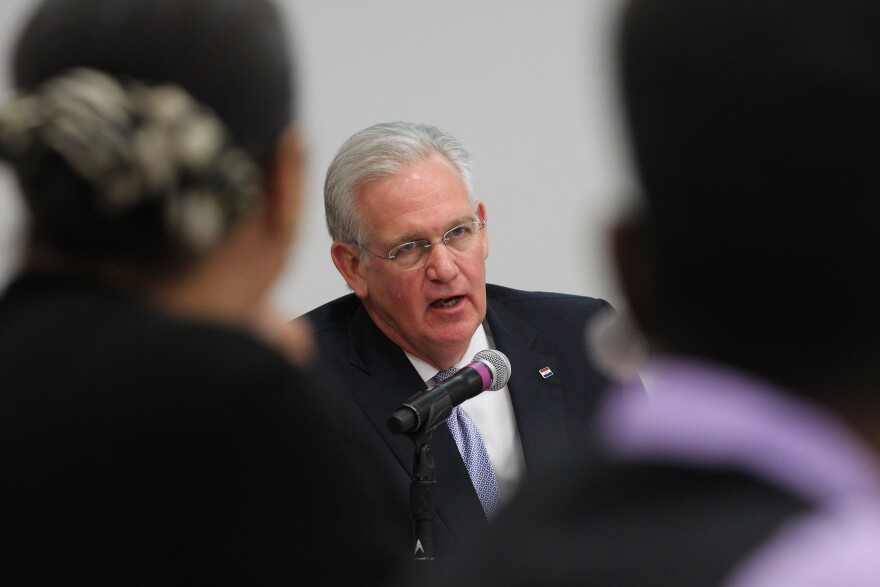 Gov. Jay Nixon meets with the Ferguson Commission on Friday, Aug. 7, 2015.