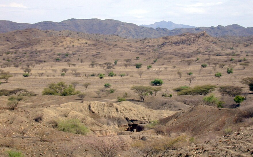 This undated image provided by the journal, Nature, shows an archaeological site, near Lake Turkana in Kenya.