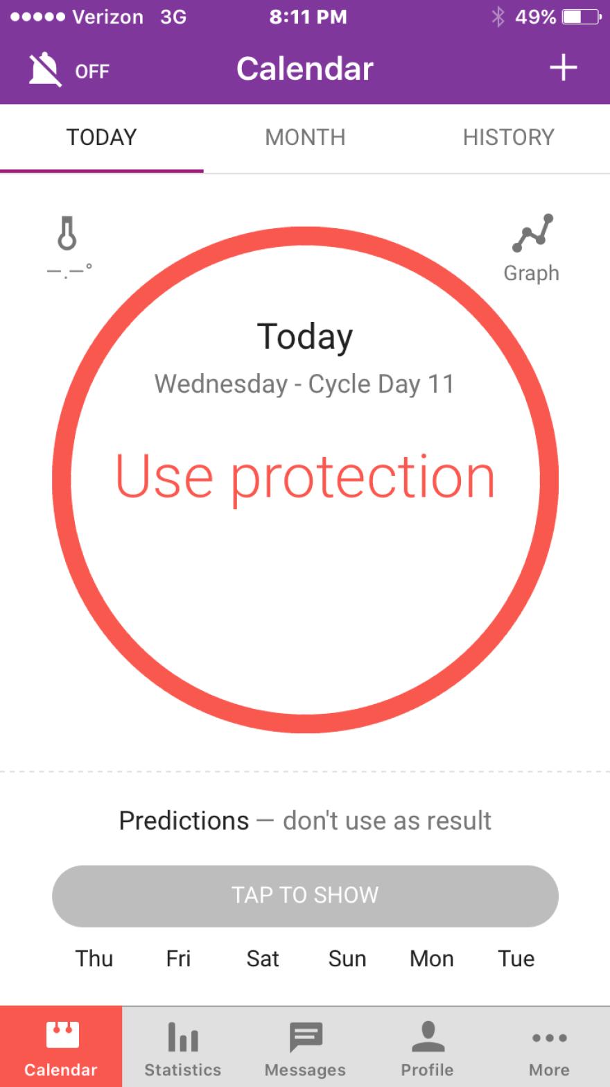 Screenshot of Natural Cycles app