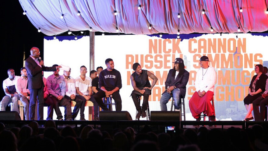 Nick Cannon and Russell Simmons joined Van Jones onstage at the L.A. stop of his 14-city tour in July.