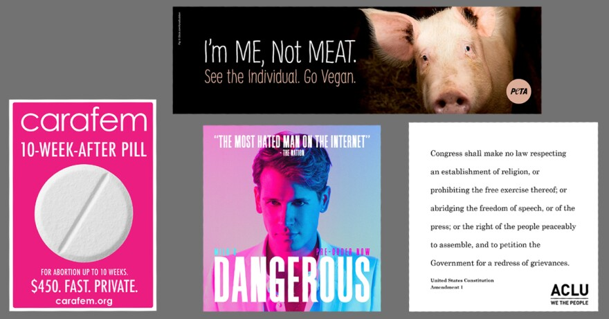 The lawsuit says WMATA rejected advertisements from PETA (counterclockwise from top), Carafem, Milo Yiannoloulos and the ACLU.