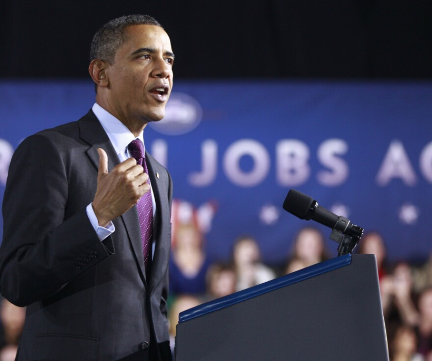 President Obama speaks about jobs in Manchester, N.H., in November. The Labor Department reported Friday that unemployment dropped to 8.5 percent.