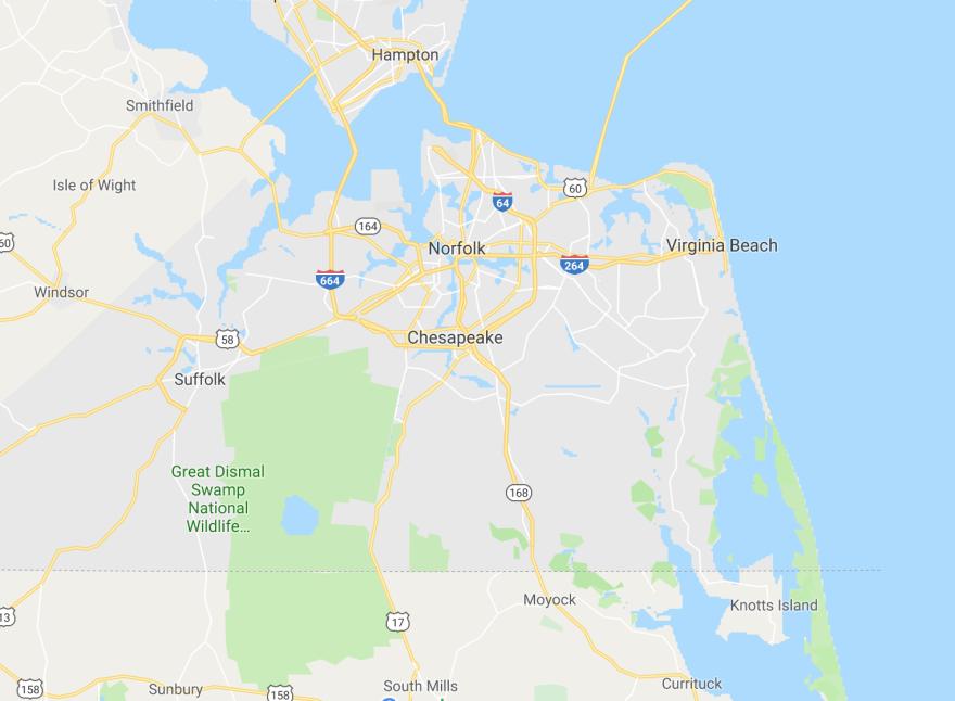 Virginia Beach, VA map