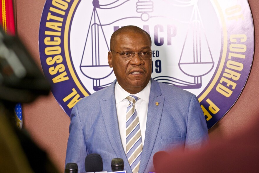 Adolphus Pruitt, the president of the NAACP in the city of St. Louis, outlines allegations that former St. Louis County Executive Steve Stenger violated the law around minority contracting at a news conference on Sept. 17, 2019.
