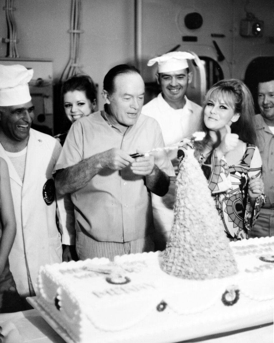 Actor and comedian Bob Hope and actress Ann-Margret, on board the USS New Jersey for the Bob Hope Christmas USO Show on Christmas Day in 1968. Ann-Margret was honored at the Washington event for her service to the USO.
