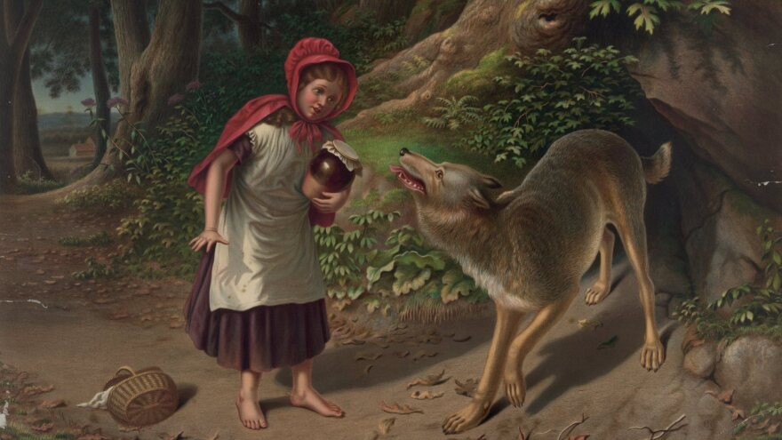 """In """"Little Red Riding Hood,"""" a young girl and her grandmother are attacked by a wolf, seen in this 1870s illustration by Alfred L. Sewell. In the NRA version, Red wards off the wolf with a rifle."""