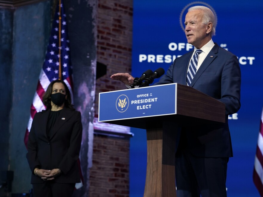 President-elect Joe Biden speaks Tuesday, Nov. 10, 2020, at The Queen theater in Wilmington, Delaware.