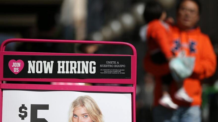 "Will there soon be more signs like this? A ""now hiring"" advertisement in San Francisco last year."