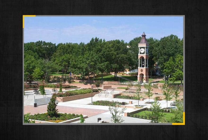 Wide photo of Sam Houston State University's campus