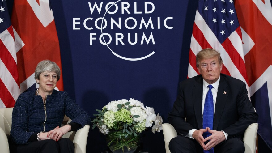 President Trump meets with British Prime Minister Theresa May on Thursday at the World Economic Forum in Davos, Switzerland.