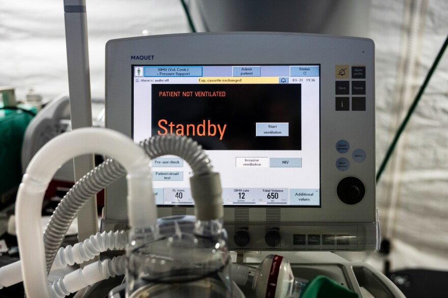 A ventilator and other hospital equipment is seen in an emergency field hospital to aid in the coronavirus pandemic in Central Park in New York City on Tuesday.