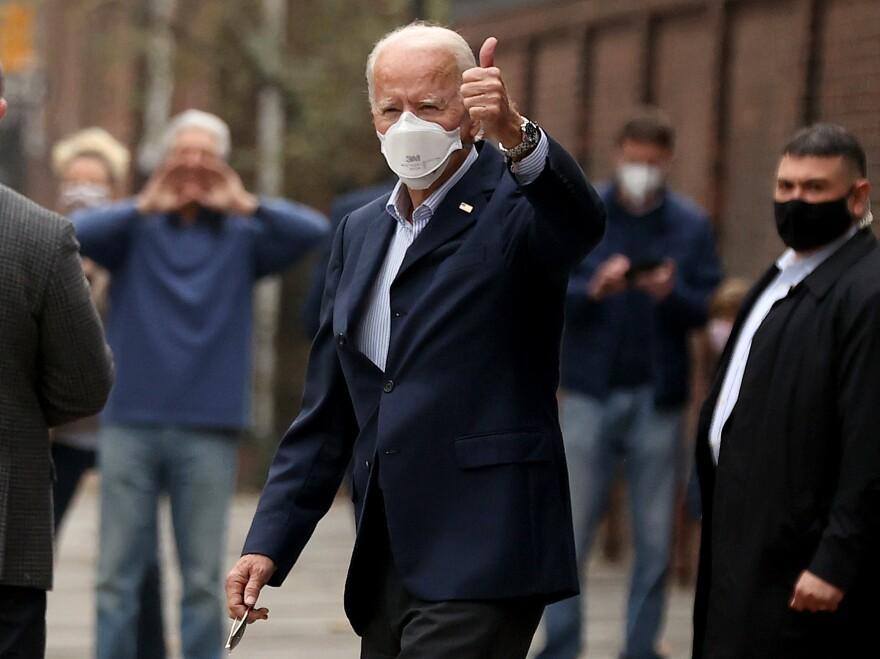 President-elect Joe Biden gives a thumbs-up in Philadelphia on Saturday.