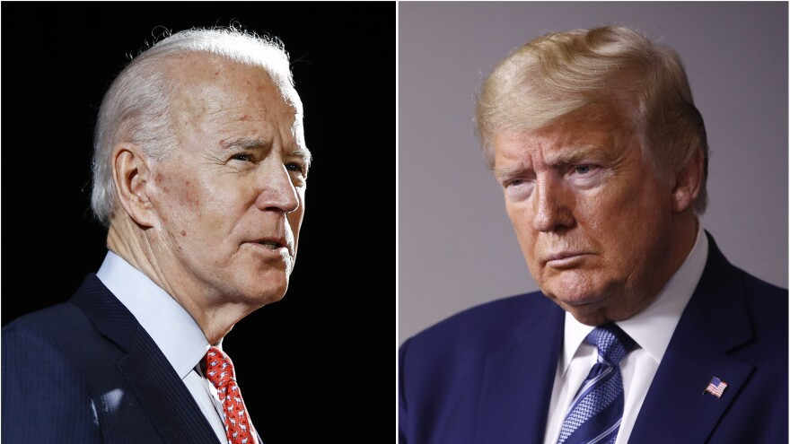 Former Vice President Joe Biden speaks in Wilmington, Del., earlier this year. President Trump at the White House in April.