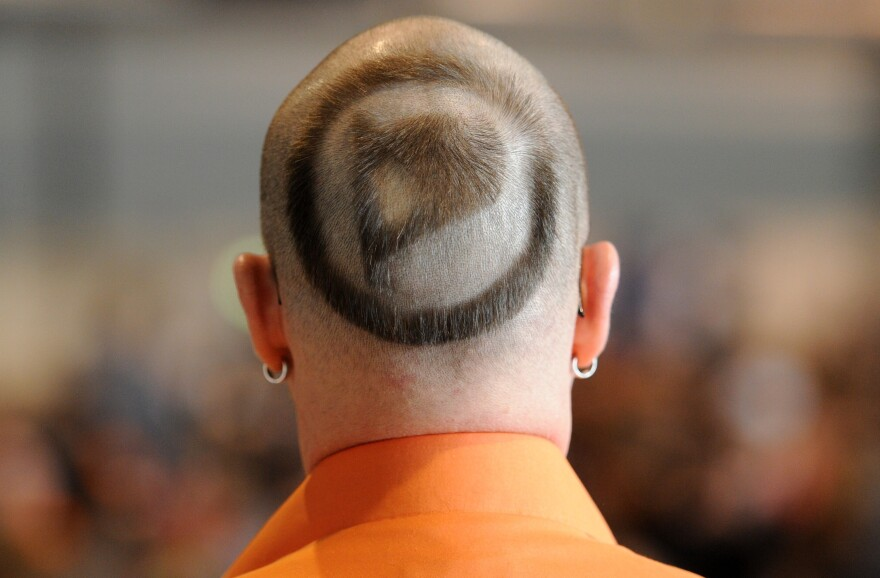 A member of the German Pirate Party, with its logo shaved in his hair, attends the party's two-day conference in Neumuenster, Germany, on April 28.