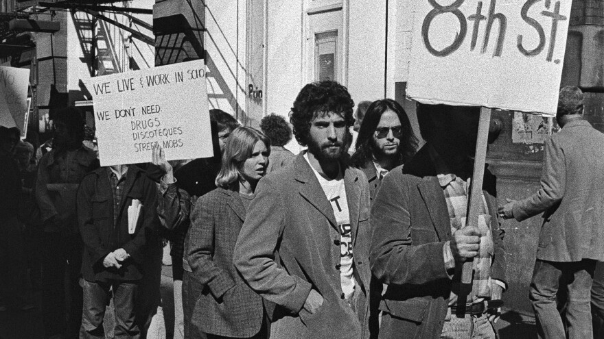 SoHo residents protest against The Loft on Oct. 15, 1974 in New York.