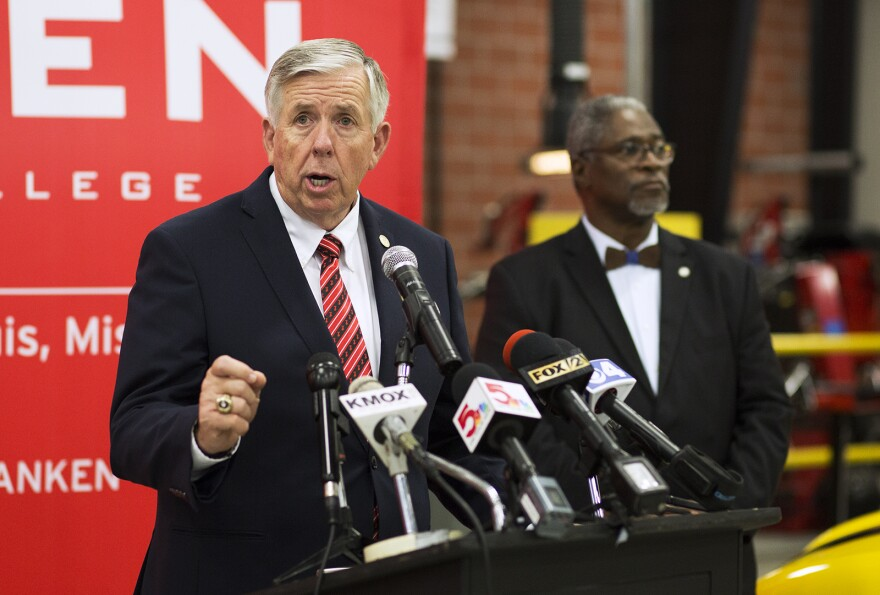 Gov. Mike Parson speaks at Ranken Technical College during a day-long tour of St. Louis on Sept. 7, 2018.