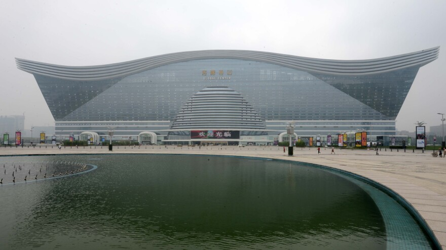 A view of the New Century Global Center in Chengdu, China. The structure — located in a suburb of Chengdu, in southwest China's Sichuan province — is home to an indoor beach and a faux Mediterranean village.