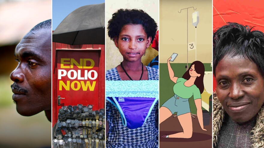 From left: Sekou Sheriff, of Barkedu village in Liberia, whose parents died at<strong> </strong>an Ebola treatment center; a polio vaccination booth in Pakistan; a schoolgirl in Ethiopia examines underwear with a pocket for a menstrual pad; an image from a video on the ethics of selfies; Consolata Agunga goes door-to-door as a community health worker in her village in Kenya.