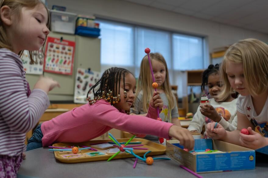 Children play in a preschool classroom at Commons Lane Elementary School in Florissant. The Ferguson-Florissant School District offers free half-day preschool but wants to expand offerings. Jan. 16, 2019.