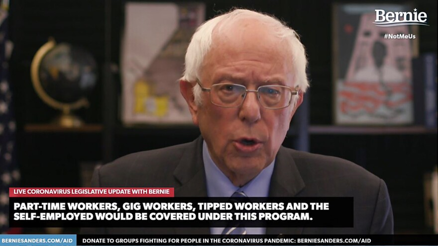 Democratic presidential candidate Bernie Sanders, U.S. senator from Vermont, talks about the coronavirus relief bill on Wednesday in one of several speeches about the crisis streamed on his campaign website.