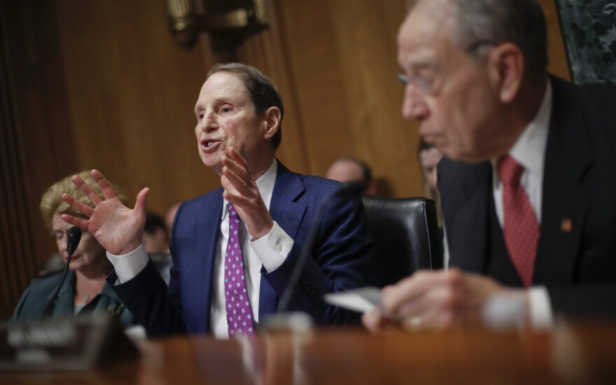 Sen. Ron Wyden, D-Ore., left, and Sen. Chuck Grassley, R-Iowa, right, chairman of the Senate Finance Committee, asked drug company CEOs some tough questions about drug prices on Tuesday during a hearing before the Senate Finance Committee.