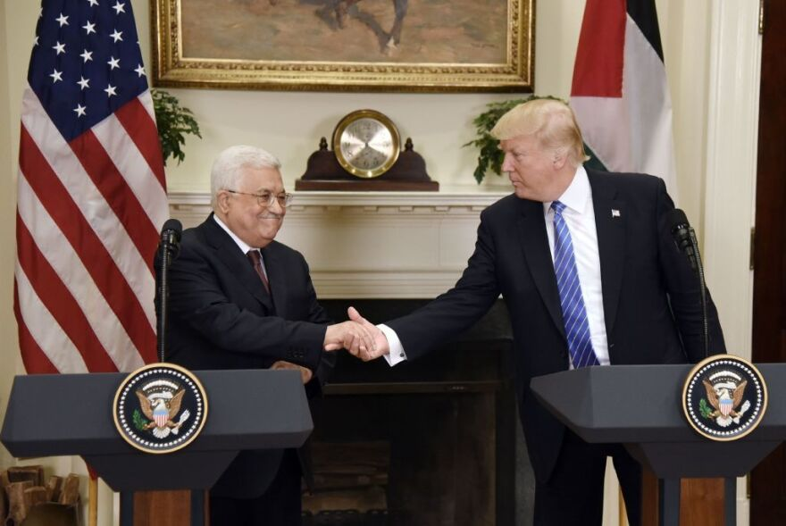 President Trump gives a joint statement with Palestinian Authority President Mahmoud Abbas on Wednesday at the White House.