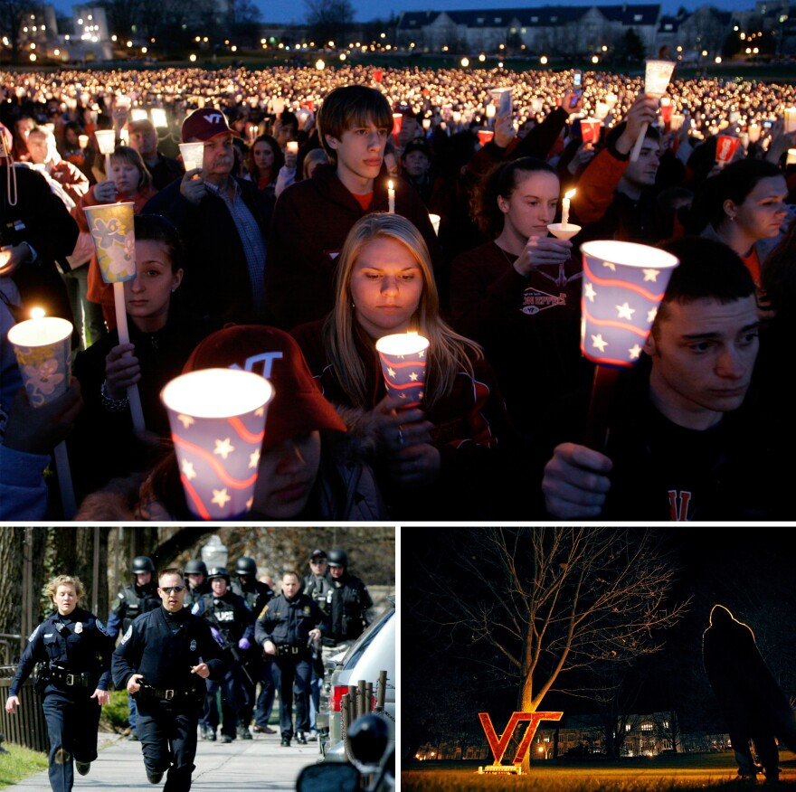 "(Top) A candlelight vigil following the shootings on the Virginia Tech campus in Blacksburg, Va., on April 17, 2007. (Left) Blacksburg police officers run from Norris Hall on the Virginia Tech campus in Blacksburg on April 16, 2007. (Right) A Virginia Tech student stands by a cardboard ""VT"" that was part of a makeshift vigil placed on a drill field at Virginia Tech on April 17, 2007."