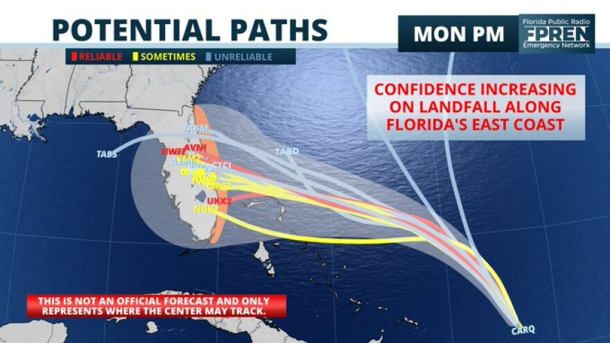 This map from the Florida Public Radio Emergency Network shows the potential paths Dorian may take.