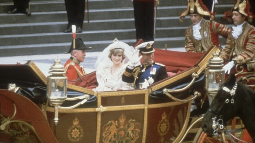 Prince William's parents, Charles and Diana, on their wedding day — July 29, 1981. If it rains Friday, William and Kate won't be able to use an open carriage.