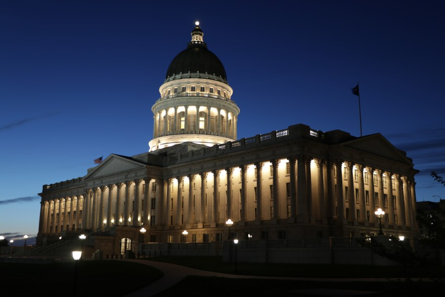 Photo of the Utah Capitol building at night