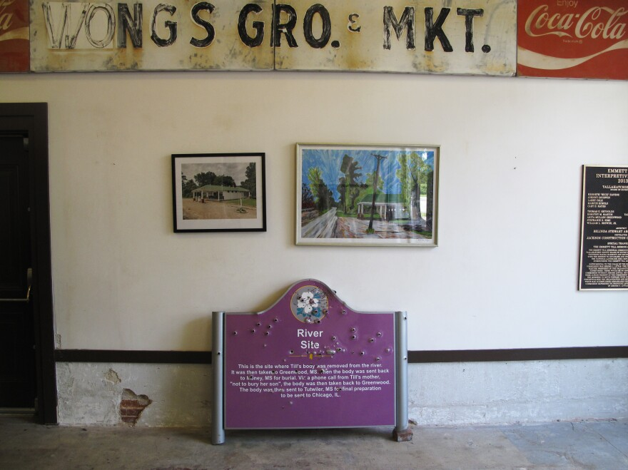 A bullet-riddled sign that once marked where Emmett Till's body was pulled from the Tallahatchie River is now housed at the Till Interpretive Center in Sumner, Miss. The historic marker was taken down after three white fraternity brothers from the University of Mississippi were pictured holding guns next to the sign.