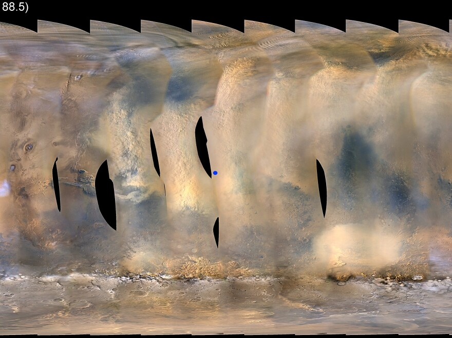 Global map of Mars showing a growing dust storm as of June 6, 2018. The map was produced by the Mars Color Imager (MARCI) camera on NASA's Mars Reconnaissance Orbiter spacecraft.