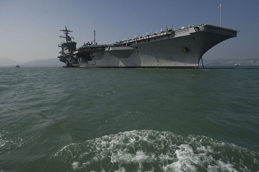 The aircraft carrier USS Carl Vinson, pictured in 2011, is part of the Navy strike group that was recently shifted to a position near the Korean Peninsula.