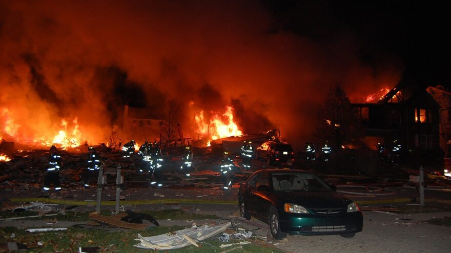 Flames shot high in the sky Saturday at the scene of the explosion and fire in Indianapolis.