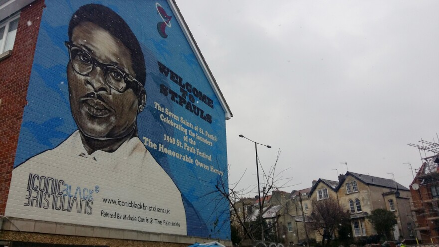 A mural by artist Michele Curtis is on display in St. Paul's, a traditionally Afro-Caribbean neighborhood of Bristol. Curtis is angry that streets and landmarks are named after slave merchants, so she's been painting murals on city walls to honor the lives of the city's black residents.