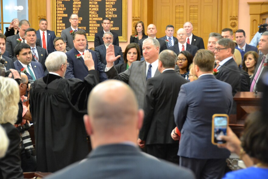 Newly elected Speaker Larry Householder (R-Glenford) takes the oath of office in January 2019, after a months-long behind-the-scenes battle culminates in his ousting of Ryan Smith as the Republican leader of the Ohio House.