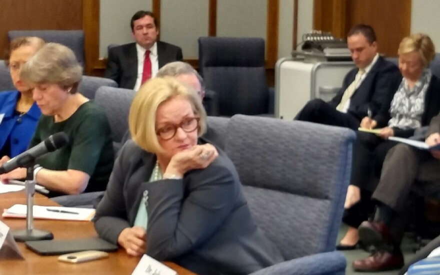 U.S. Sen. Claire McCaskill at a hearing at Washington University with more than a dozen experts in medicine and geriatrics 3/31/15