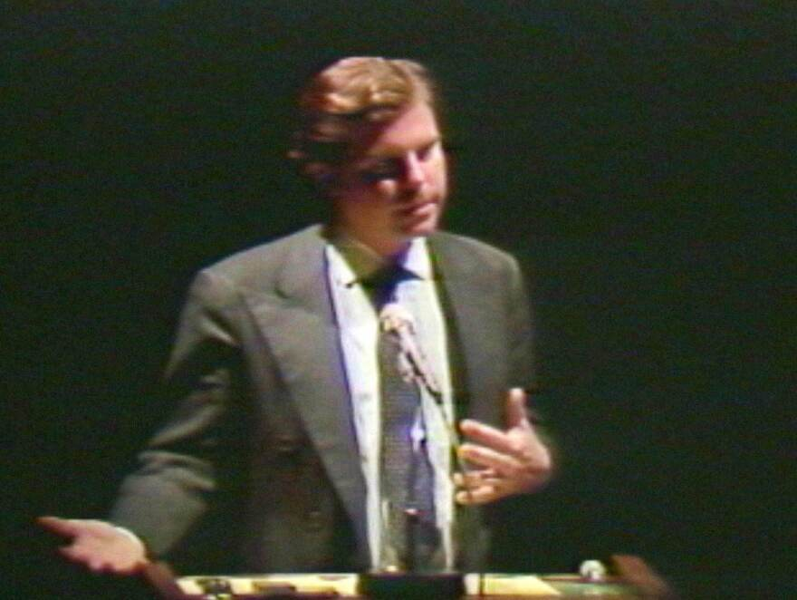 Nicholas Negroponte at an early TED conference in 1984.