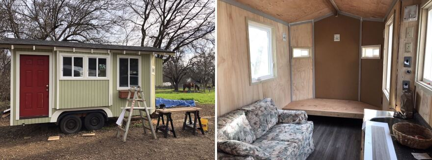 Exterior and interior of the tiny homes built for a community called Simplicity Village in Chico, Calif.