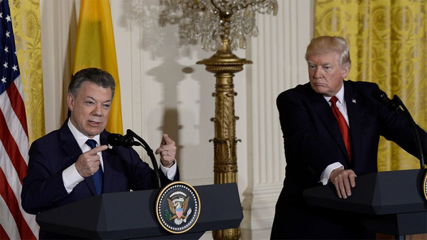 Then Colombian President Juan Manuel Santos with President Trump at the White House in 2017.