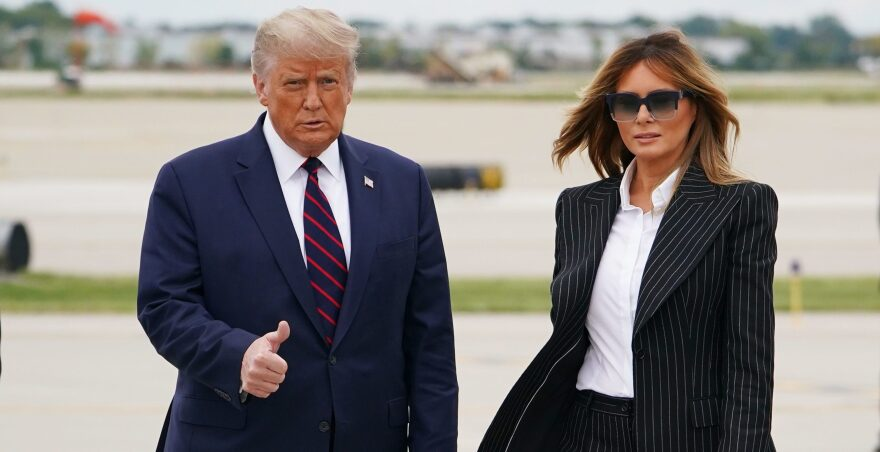 President Trump and first lady Melania Trump step off Air Force One upon arrival at Cleveland Hopkins International Airport in Cleveland, Ohio on Sept. 29, 2020. (Mandel Ngan/AFP via Getty Images)