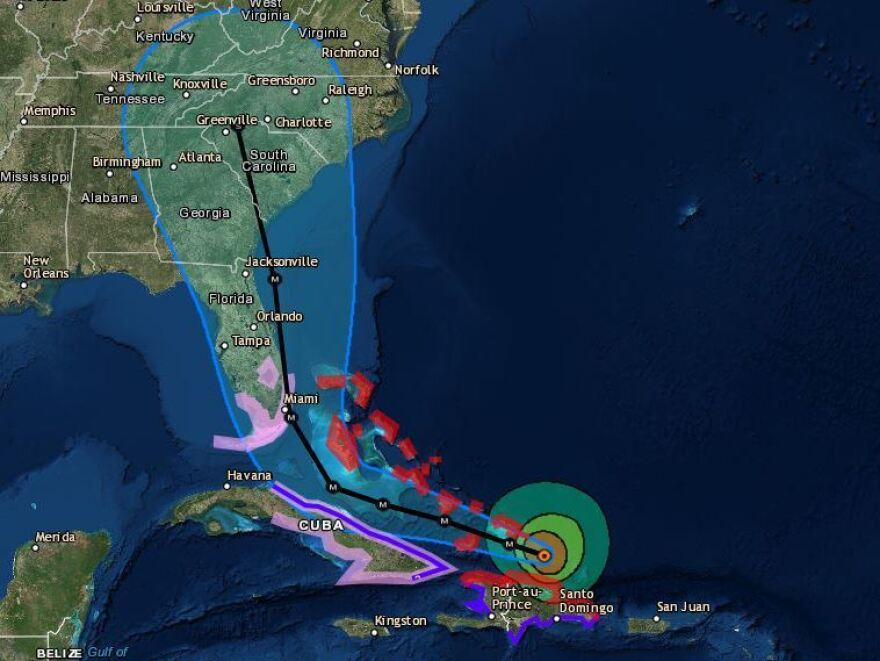 """The chance of direct impacts is increasing in portions of Georgia, South Carolina and North Carolina,"" the National Hurricane Center says of Hurricane Irma."