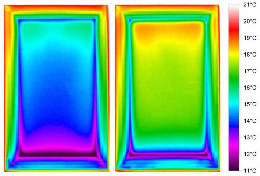 This infrared image shows a low-e window (right) and an untreated window in winter conditions. The low-e window's insulating film keeps heat inside a building. It also has coating that blocks outside rays of sunlight — an inefficiency researchers are trying to correct with dynamic windows.